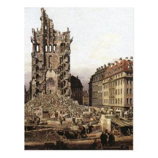 As ruínas do Kreuzkirche velho, Dresden por Berna Cartão Postal