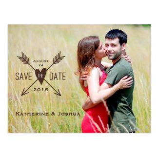 As setas de amor salvar o cartão da foto da data cartoes postais