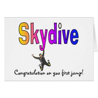 As Skydive-Felicitações em você saltam primeiramen Cartão Comemorativo