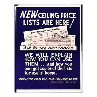 As tabelas de preços novas do teto estão aqui! panfleto personalizados