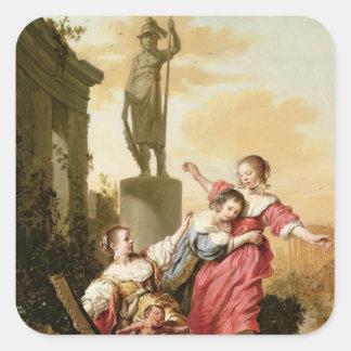 As três filhas de Cecrops Adesivo Quadrado