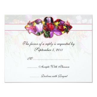 As tulipas coloridas que Wedding RSVP convidam Convite 10.79 X 13.97cm