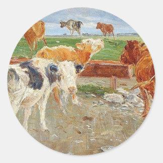 As vacas aproximam bem em Gammelgaard, Saltholm Adesivo