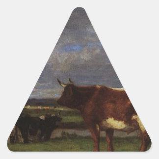 As vacas aproximam os Toques por Eugene Boudin Adesivo Triangular
