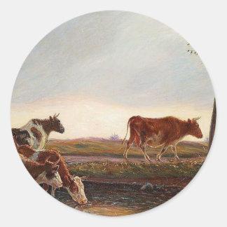 As vacas limitam homeward na noite por Theodor Adesivo