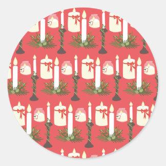 As velas festivas imprimem o vermelho adesivo redondo