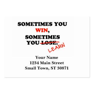 Às vezes você frase inspirador da tipografia da cartão de visita grande