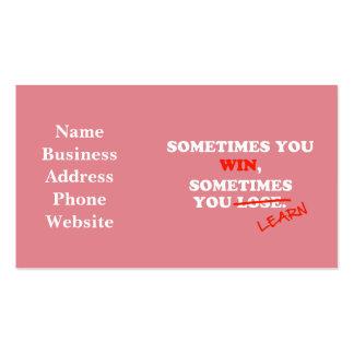 Às vezes você frase inspirador da tipografia da cartão de visita