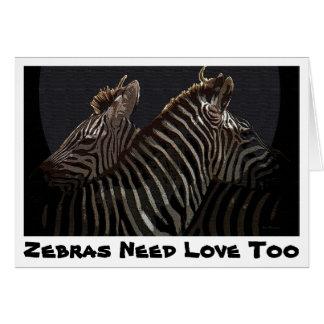 As zebras precisam o cartão do amor demasiado