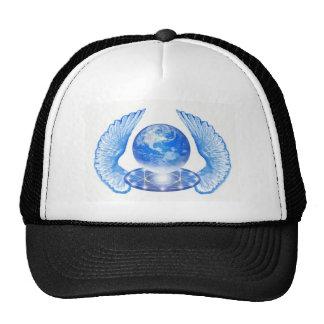 Asas angélicos azuis da terra do planeta boné