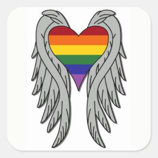 Asas da mudança, grande etiqueta do orgulho gay adesivo quadrado