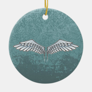 asas das Azul-cinzas Ornamento De Cerâmica