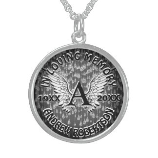 Asas do anjo do monograma do memorial   colar com pendente redondo
