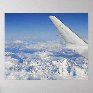 Asas do avião do vôo sobre cumes franceses, posters