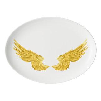 Asas douradas do anjo de Falln Travessa De Porcelana
