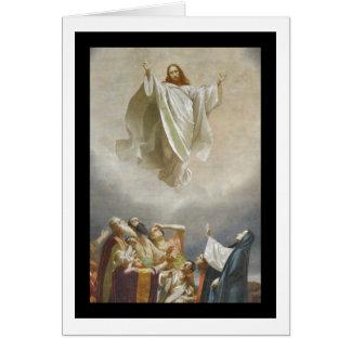Ascensão do cristo ao céu observado por apóstolos cartão comemorativo