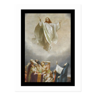 Ascensão do cristo ao céu observado por apóstolos cartão postal