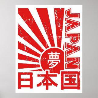 """Ascensão Sun de """"Japão"""" do vintage com caráteres Poster"""