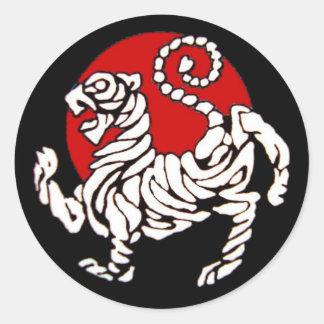 Ascensão Sun do tigre de Shotokan Adesivo Redondo