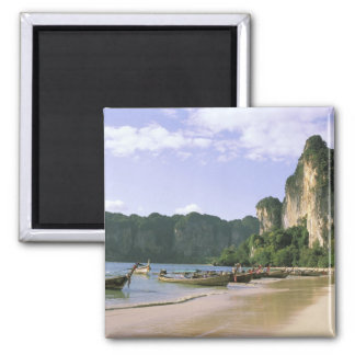 Ásia, Tailândia, Krabi. Praia ocidental de Railay, Ímã Quadrado