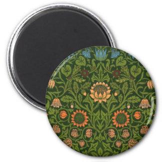 Asiático verde vermelho do tapete do tapete da ímã redondo 5.08cm