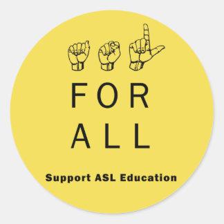 ASL para tudo - etiquetas da educação do ASL do