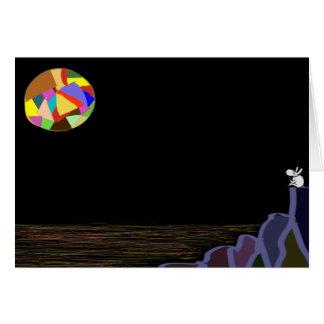 asno e lua colorida cartão