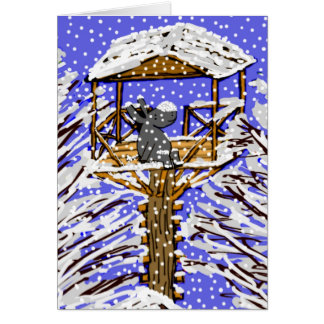 asno na casa na árvore na neve cartão