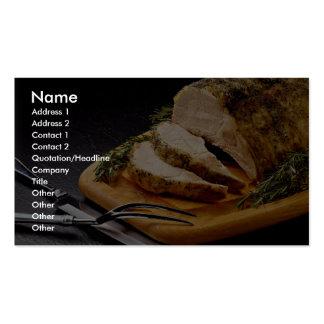 Assado de carne de porco cortado delicioso cartao de visita