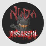 Assassino de Ninja Adesivos Em Formato Redondos