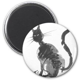 assento do gato preto ima de geladeira