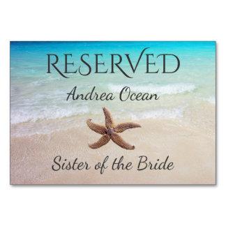 Assento reservado do casamento da estrela do mar