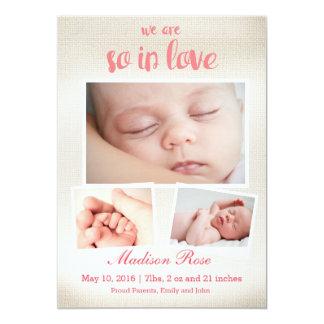 Assim no anúncio do nascimento do bebé do amor convite 12.7 x 17.78cm