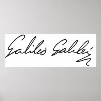 Assinatura do astrónomo Galileo Galilei Impressão