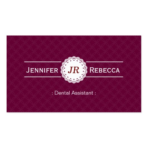 Assistente dental - roxo moderno do monograma cartão de visita
