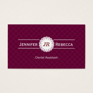 Assistente dental - roxo moderno do monograma cartão de visitas