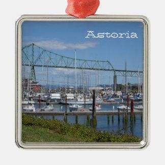Astoria, Oregon Ornamento Quadrado Cor Prata