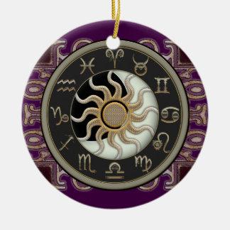 Astrologia Sun e lua personalizada Enfeite Para Arvore De Natal