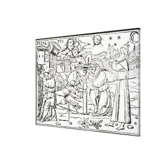 Astrólogo árabes, cópia de uma ilustração de impressão de canvas esticada