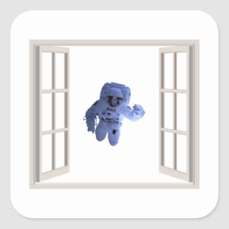 Astronauta atrás da janela adesivo quadrado