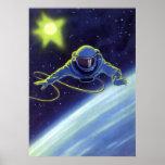 Astronauta da ficção científica do vintage em um S Impressão