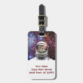 Astronauta do gato - gato louco - gato etiqueta de bagagem