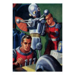 Astronautas da ficção científica do vintage com um pôsteres