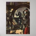 Astronautas da ficção científica do vintage em um  impressão