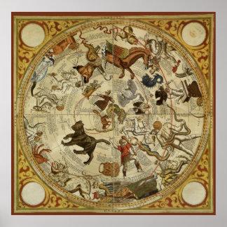 Astronomia do vintage, carta de estrela celestial poster