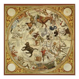 Astronomia do vintage, convite celestial do mapa
