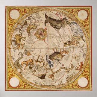Astronomia do vintage, mapa de estrela celestial poster