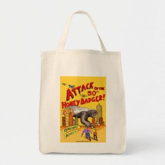 Ataque do texugo de mel de 50ft! sacola da compra bolsas para compras
