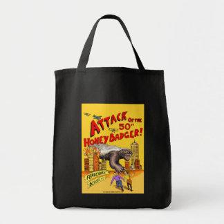 Ataque do texugo de mel de 50ft! sacola da compra bolsa de lona