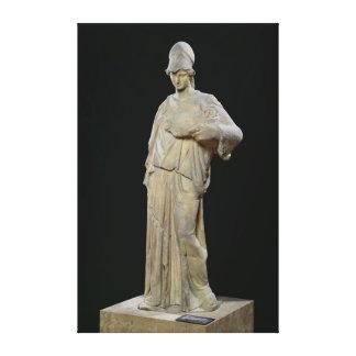 Athena com um cist, cópia romana de um século IV Impressão De Canvas Envolvida